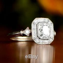 Vintage Art Deco Ring 2 Ct Diamond Engagement Edwardian Ring 14K White Gold Over