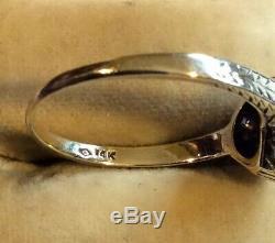 Vintage EDWARDIAN Art Deco 14K Yellow GOLD Filigree Mine DIAMOND ENGAGEMENT RING