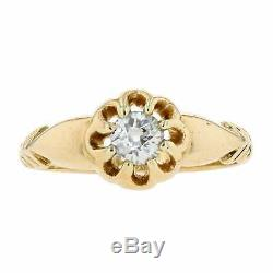 Vintage Edwardian 1910 18ct Yellow Gold 0.33cts Diamond Solitaire Ring K. 5