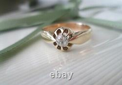 Vintage Edwardian 22ct Yellow Gold Old Mine Cut. 32ct Diamond Solitaire Ring Q