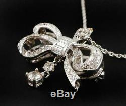 Vintage Edwardian Diamond Bow Pendant / Brooch, 14k White Gold with Chain