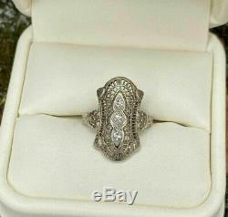 Vintage Edwardian Engagement Ring Cocktail Ring 2 Ct Diamond 14K White Gold Over