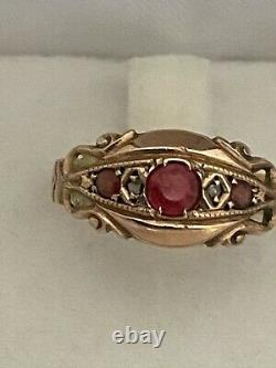 Vintage Edwardian Ruby And Diamond 9 Carat Rose Gold Ring Chester 1919 Size K