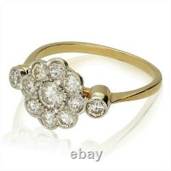 Vintage Edwardian Style 18ct Gold Diamond Cluster Ring 20th C