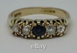 Vintage Edwardian Style 9ct Gold Sapphire & 0.80ct Old cut Diamond Ring Size 0
