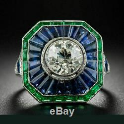 Vintage Edwardian Victorian Engagement Ring 2.9 Ct Diamond 14K White Gold Plated