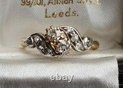 Vintage Edwardian art nouveau toi et moi 18ct Gold Old Cut Diamonds Ring