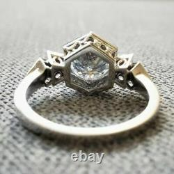 Vintage Old Victorian Edwardian Ring 2 Ct Round Cut Diamond 14K White Gold Over