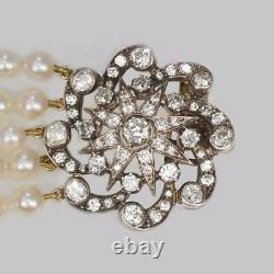 Vintage Pearl Necklace with 4.0ct Old Cut Diamond Edwardian Clasp 5 Strand 16