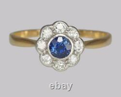 Vintage Sapphire & Diamond Cluster Ring Antique 18ct Gold Edwardian Daisy Ring