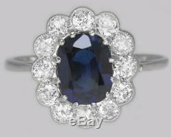 Vintage Sapphire & Old Cut Diamond Cluster Ring Edwardian 18ct Gold & Plat. Ring