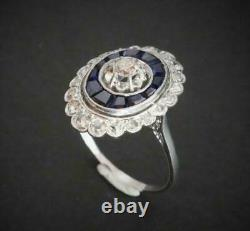 Vintage Victorian Edwardian Engagement Ring 2.66 Ct Diamond 14k White Gold Over